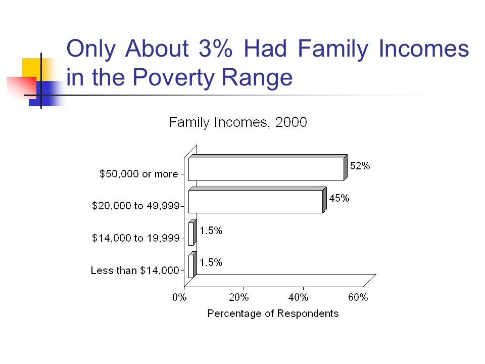 Only About 3% Had Family Incomes in the Poverty Range