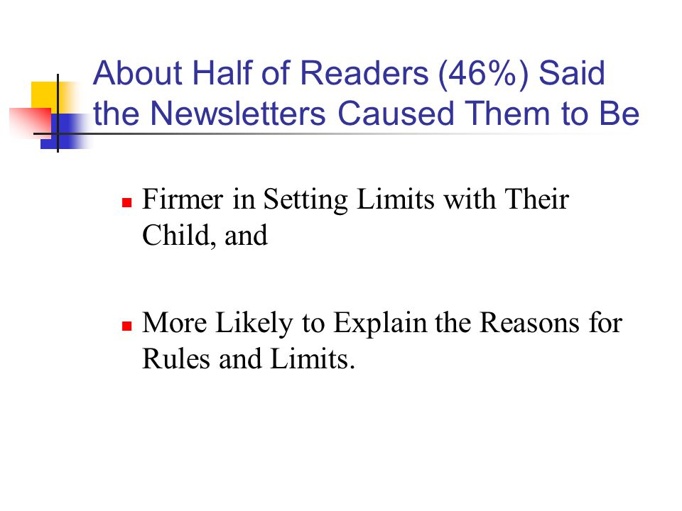 About Half of Readers (46%) Said the Newsletters Caused Them to Be Firmer in Setting Limits with Their Child, and More Likely to Explain the Reasons for Rules and Limits.