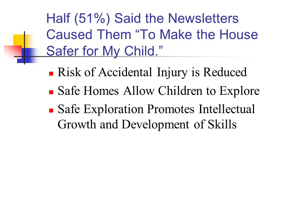 Half (51%) Said the Newsletters Caused Them To Make the House Safer for My Child. Risk of Accidental Injury is Reduced Safe Homes Allow Children to Explore Safe Exploration Promotes Intellectual Growth and Development of Skills