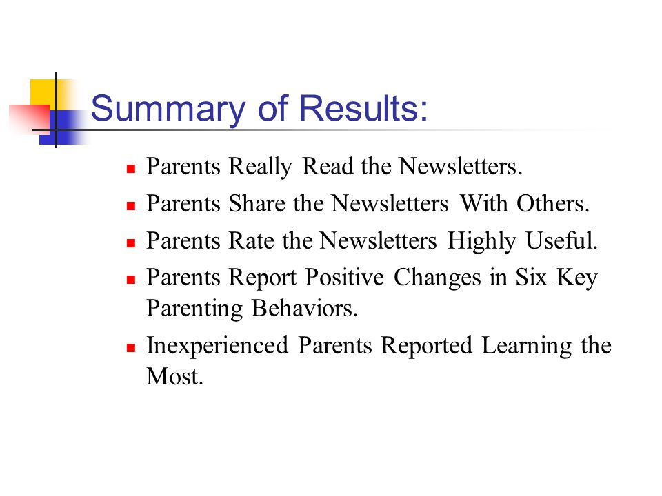Summary of Results: Parents Really Read the Newsletters.