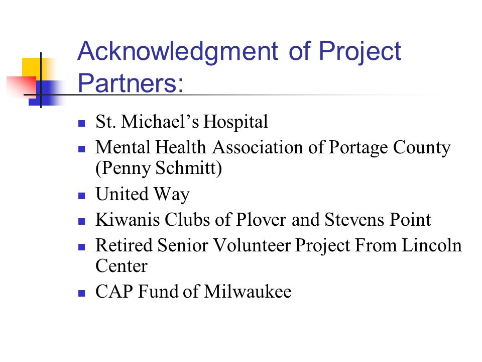 Acknowledgment of Project Partners: St.