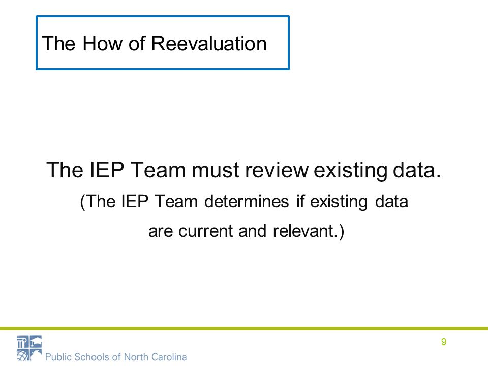 The How of Reevaluation The IEP Team must review existing data.
