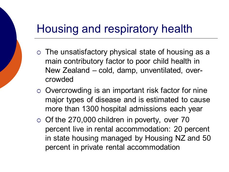 Housing and respiratory health  The unsatisfactory physical state of housing as a main contributory factor to poor child health in New Zealand – cold, damp, unventilated, over- crowded  Overcrowding is an important risk factor for nine major types of disease and is estimated to cause more than 1300 hospital admissions each year  Of the 270,000 children in poverty, over 70 percent live in rental accommodation: 20 percent in state housing managed by Housing NZ and 50 percent in private rental accommodation