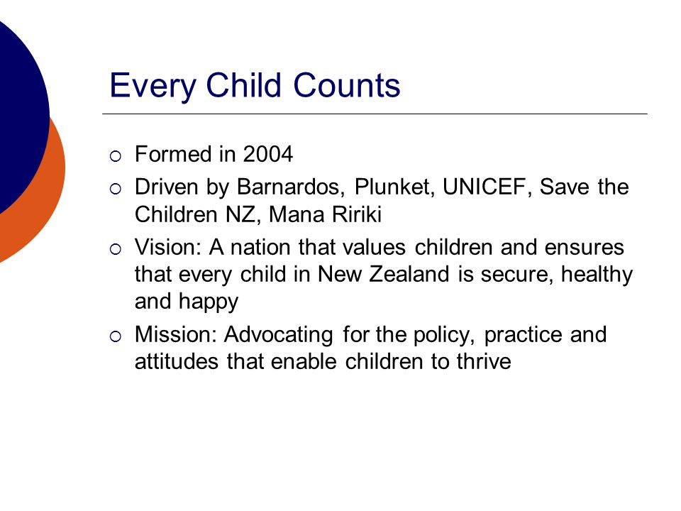 Every Child Counts  Formed in 2004  Driven by Barnardos, Plunket, UNICEF, Save the Children NZ, Mana Ririki  Vision: A nation that values children and ensures that every child in New Zealand is secure, healthy and happy  Mission: Advocating for the policy, practice and attitudes that enable children to thrive