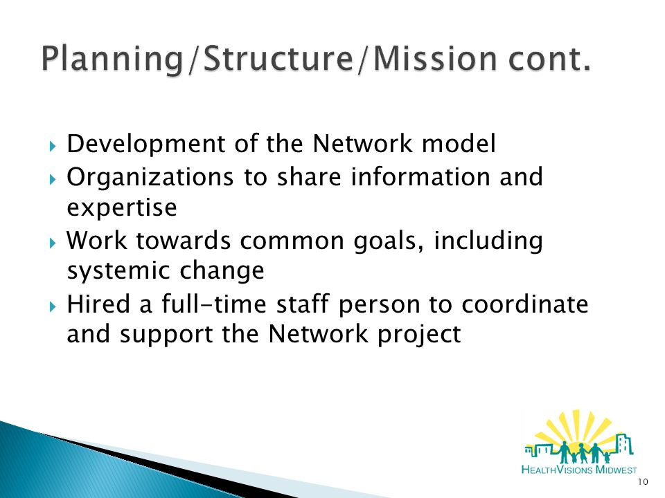  Development of the Network model  Organizations to share information and expertise  Work towards common goals, including systemic change  Hired a full-time staff person to coordinate and support the Network project 10