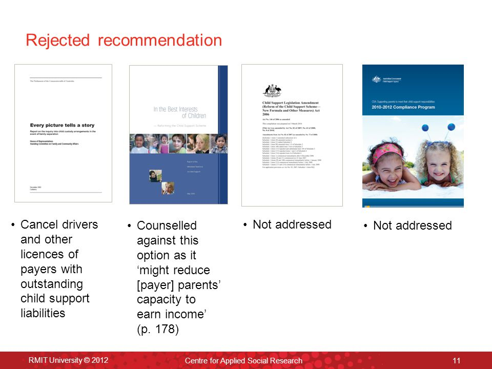 RMIT University © 2012 Centre for Applied Social Research 11 Rejected recommendation Cancel drivers and other licences of payers with outstanding child support liabilities Counselled against this option as it 'might reduce [payer] parents' capacity to earn income' (p.