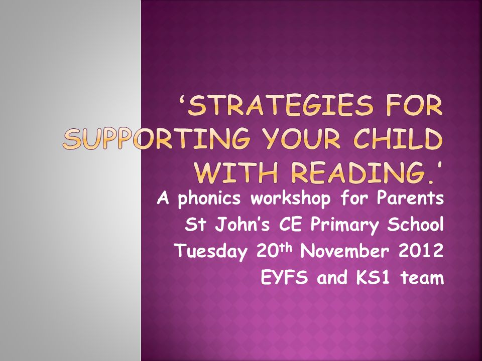 A phonics workshop for Parents St John's CE Primary School Tuesday 20 th November 2012 EYFS and KS1 team