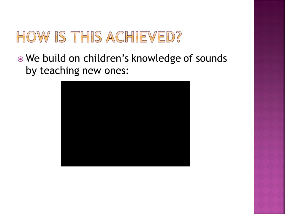  We build on children's knowledge of sounds by teaching new ones: