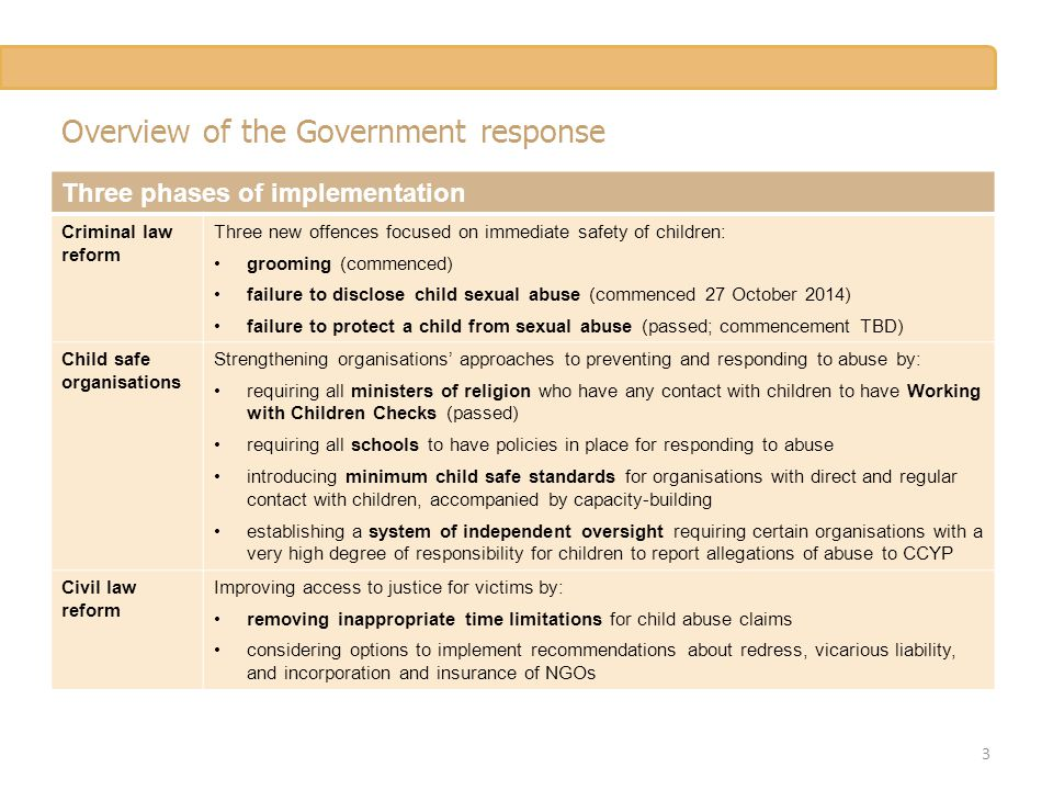 Overview of the Government response Three phases of implementation Criminal law reform Three new offences focused on immediate safety of children: grooming (commenced) failure to disclose child sexual abuse (commenced 27 October 2014) failure to protect a child from sexual abuse (passed; commencement TBD) Child safe organisations Strengthening organisations' approaches to preventing and responding to abuse by: requiring all ministers of religion who have any contact with children to have Working with Children Checks (passed) requiring all schools to have policies in place for responding to abuse introducing minimum child safe standards for organisations with direct and regular contact with children, accompanied by capacity-building establishing a system of independent oversight requiring certain organisations with a very high degree of responsibility for children to report allegations of abuse to CCYP Civil law reform Improving access to justice for victims by: removing inappropriate time limitations for child abuse claims considering options to implement recommendations about redress, vicarious liability, and incorporation and insurance of NGOs 3