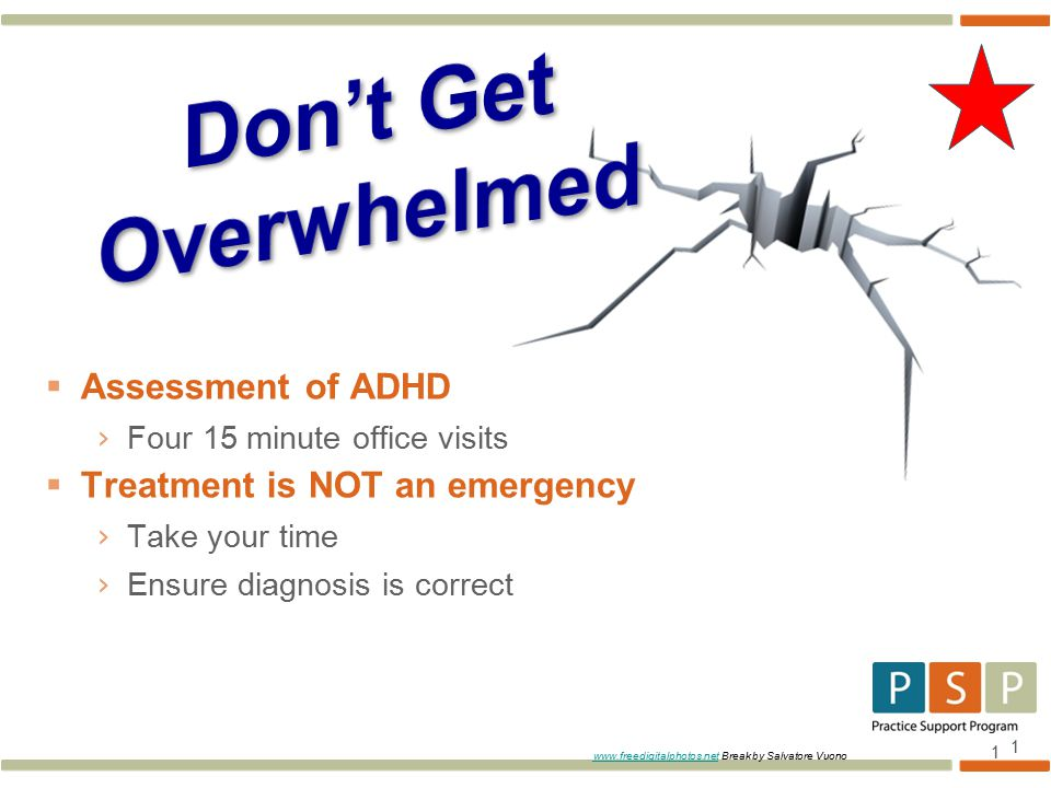 1  Assessment of ADHD › Four 15 minute office visits  Treatment is NOT an emergency › Take your time › Ensure diagnosis is correct 1   Break by Salvatore Vuono
