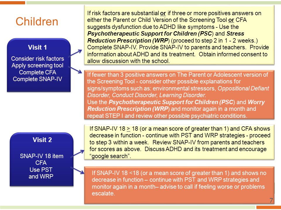 Visit 1 Visit 2 If risk factors are substantial or if three or more positives answers on either the Parent or Child Version of the Screening Tool or CFA suggests dysfunction due to ADHD like symptoms - Use the Psychotherapeutic Support for Children (PSC) and Stress Reduction Prescription (WRP) (proceed to step 2 in weeks.) Complete SNAP-IV.
