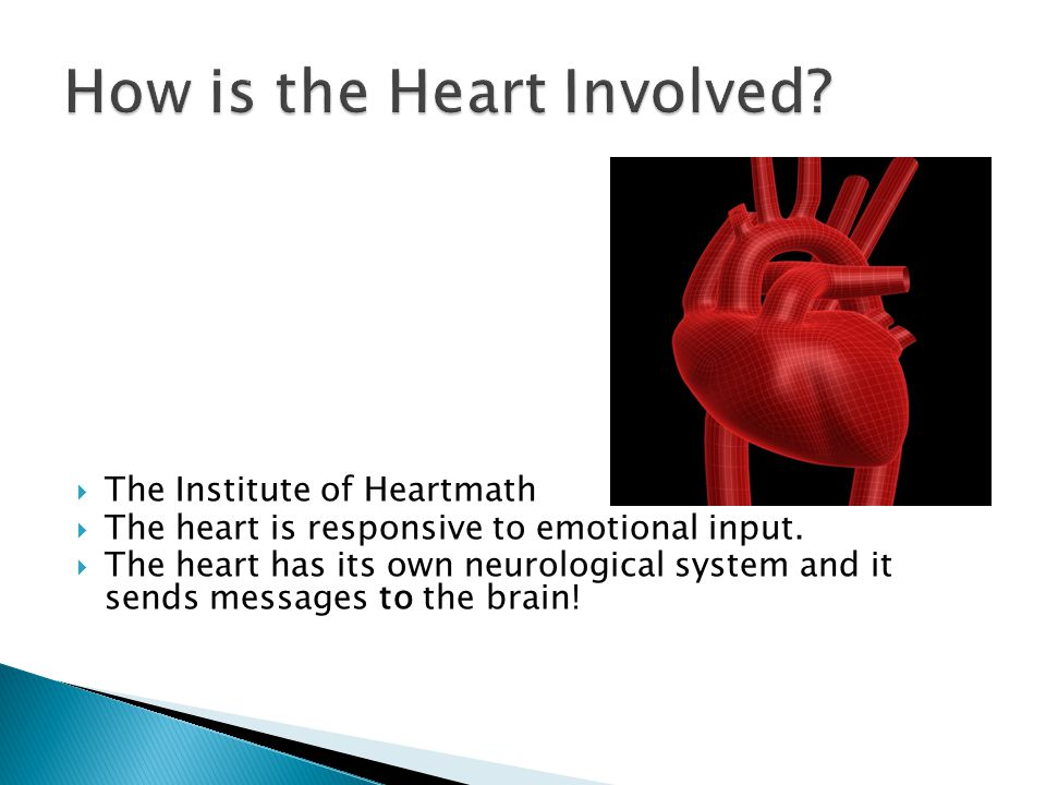  The Institute of Heartmath  The heart is responsive to emotional input.