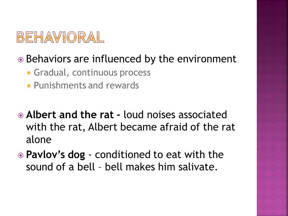  Behaviors are influenced by the environment  Gradual, continuous process  Punishments and rewards  Albert and the rat - loud noises associated with the rat, Albert became afraid of the rat alone  Pavlov's dog - conditioned to eat with the sound of a bell – bell makes him salivate.