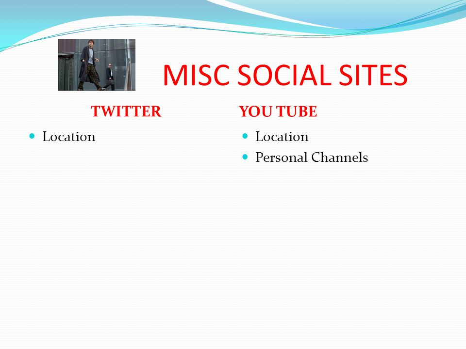 MISC SOCIAL SITES TWITTER YOU TUBE Location Personal Channels