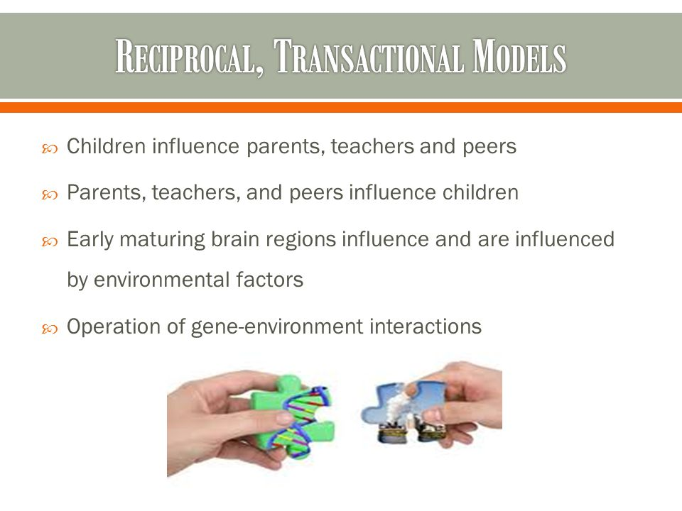  Children influence parents, teachers and peers  Parents, teachers, and peers influence children  Early maturing brain regions influence and are influenced by environmental factors  Operation of gene-environment interactions