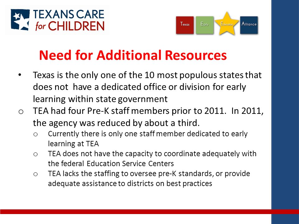 Need for Additional Resources Texas is the only one of the 10 most populous states that does not have a dedicated office or division for early learning within state government o TEA had four Pre-K staff members prior to 2011.
