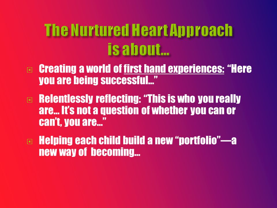  Creating a world of first hand experiences: Here you are being successful…  Relentlessly reflecting: This is who you really are… It's not a question of whether you can or can't, you are…  Helping each child build a new portfolio —a new way of becoming…