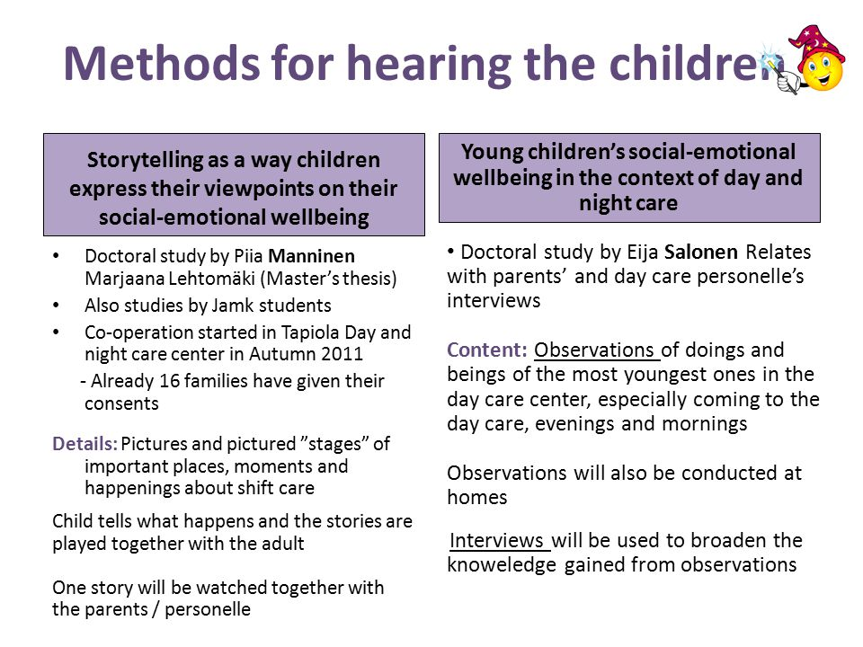 Methods for hearing the children Storytelling as a way children express their viewpoints on their social-emotional wellbeing Doctoral study by Piia Manninen Marjaana Lehtomäki (Master's thesis) Also studies by Jamk students Co-operation started in Tapiola Day and night care center in Autumn 2011 - Already 16 families have given their consents Details: Pictures and pictured stages of important places, moments and happenings about shift care Child tells what happens and the stories are played together with the adult One story will be watched together with the parents / personelle Young children's social-emotional wellbeing in the context of day and night care Doctoral study by Eija Salonen Relates with parents' and day care personelle's interviews Content: Observations of doings and beings of the most youngest ones in the day care center, especially coming to the day care, evenings and mornings Observations will also be conducted at homes Interviews will be used to broaden the knoweledge gained from observations