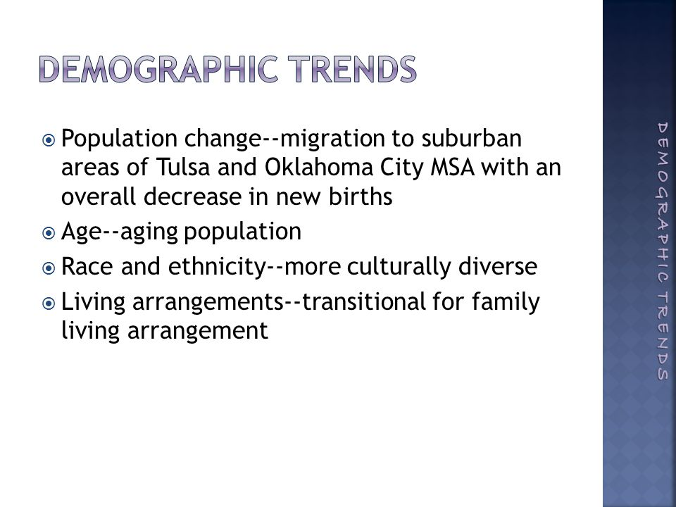  Population change--migration to suburban areas of Tulsa and Oklahoma City MSA with an overall decrease in new births  Age--aging population  Race and ethnicity--more culturally diverse  Living arrangements--transitional for family living arrangement