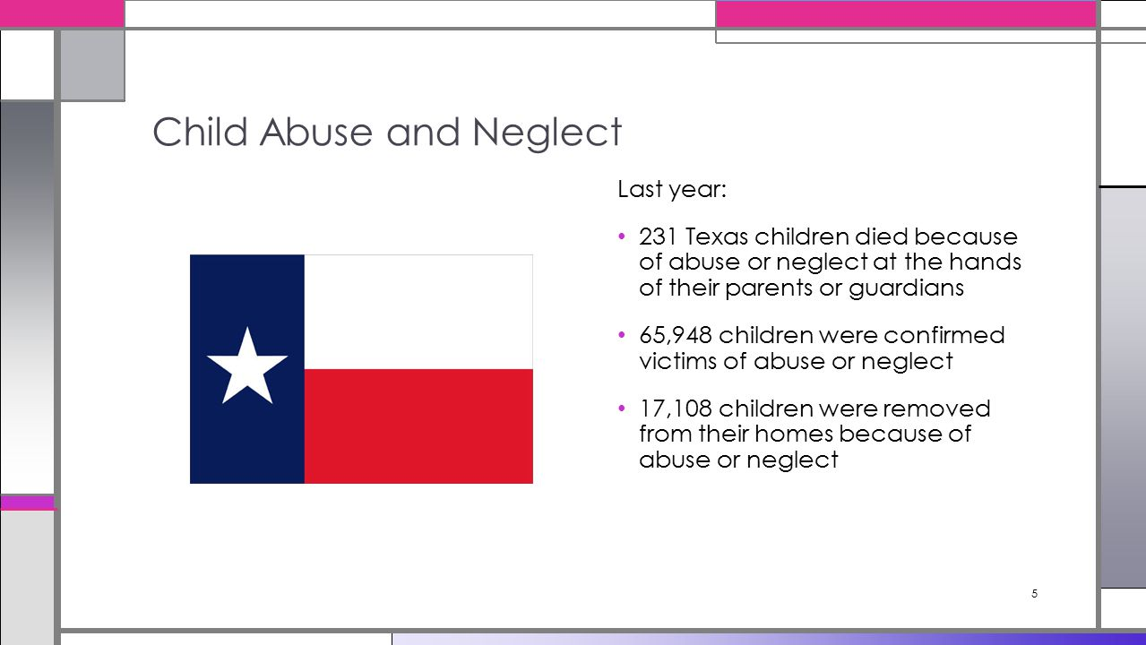 5 Last year: 231 Texas children died because of abuse or neglect at the hands of their parents or guardians 65,948 children were confirmed victims of abuse or neglect 17,108 children were removed from their homes because of abuse or neglect Child Abuse and Neglect