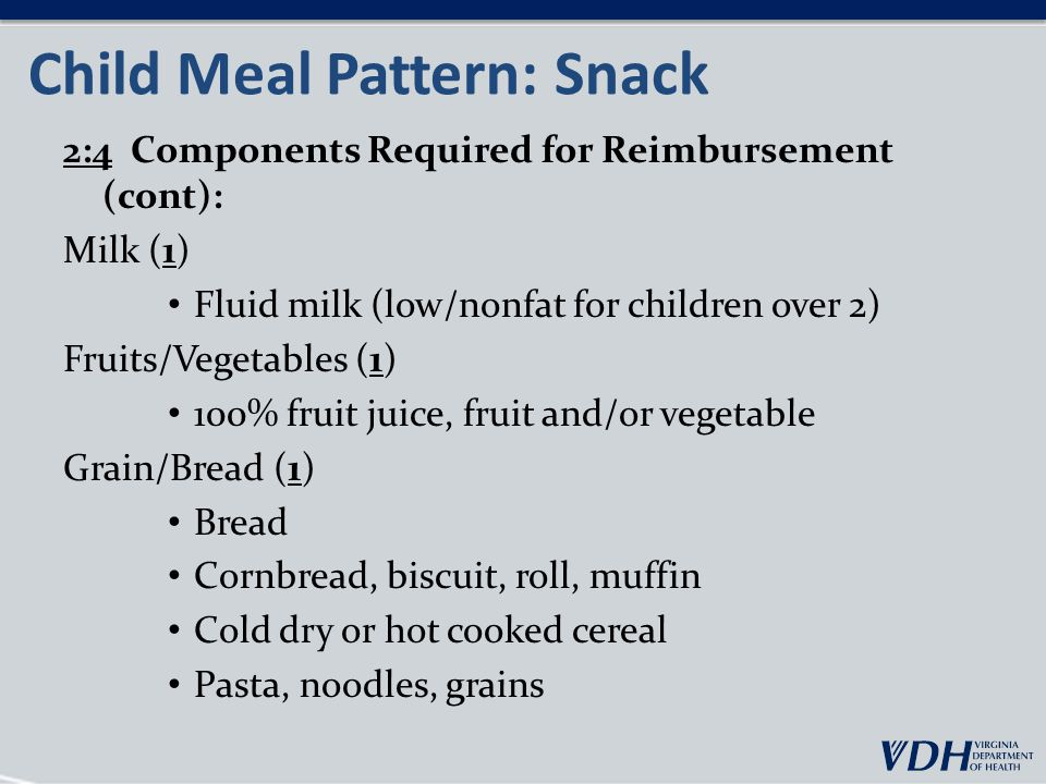 Child Meal Pattern: Snack 2:4 Components Required for Reimbursement (cont): Milk (1) Fluid milk (low/nonfat for children over 2) Fruits/Vegetables (1) 100% fruit juice, fruit and/or vegetable Grain/Bread (1) Bread Cornbread, biscuit, roll, muffin Cold dry or hot cooked cereal Pasta, noodles, grains