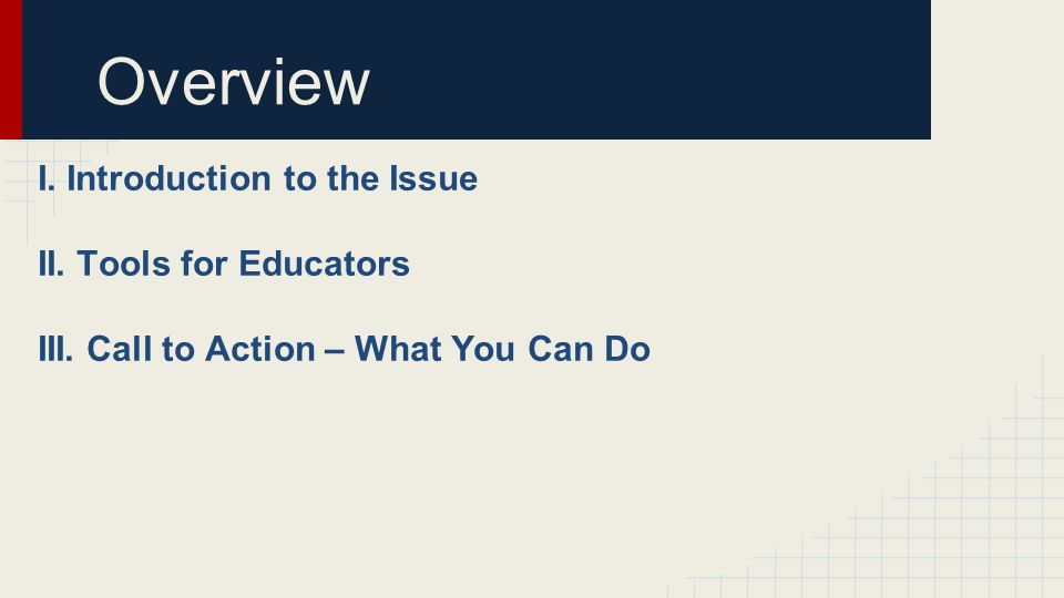 I. Introduction to the Issue II. Tools for Educators III. Call to Action – What You Can Do Overview