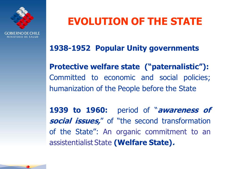 1938-1952 Popular Unity governments Protective welfare state ( paternalistic ): Committed to economic and social policies; humanization of the People before the State 1939 to 1960: period of awareness of social issues, of the second transformation of the State : An organic commitment to an assistentialist State (Welfare State).