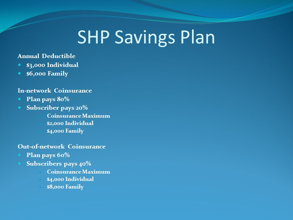 SHP Savings Plan Annual Deductible $3,000 Individual $6,000 Family In-network Coinsurance Plan pays 80% Subscriber pays 20% Coinsurance Maximum $2,000 Individual $4,000 Family Out-of-network Coinsurance Plan pays 60% Subscribers pays 40% Coinsurance Maximum $4,000 Individual $8,000 Family