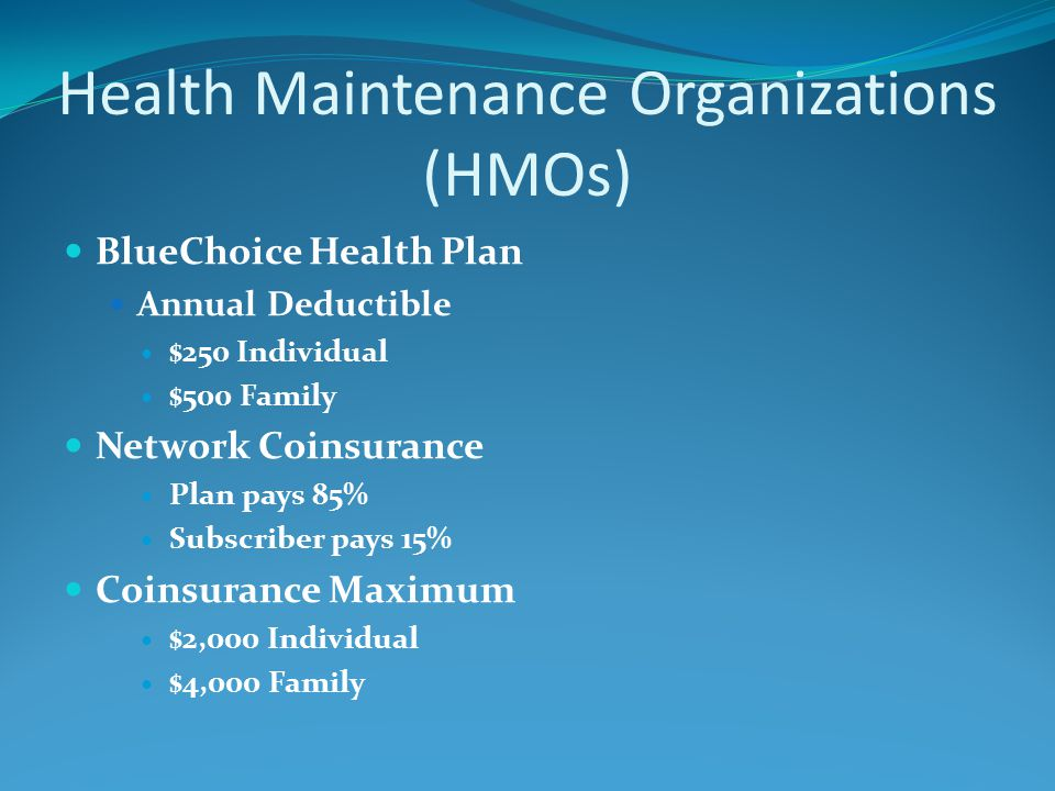 Health Maintenance Organizations (HMOs) BlueChoice Health Plan Annual Deductible $250 Individual $500 Family Network Coinsurance Plan pays 85% Subscriber pays 15% Coinsurance Maximum $2,000 Individual $4,000 Family