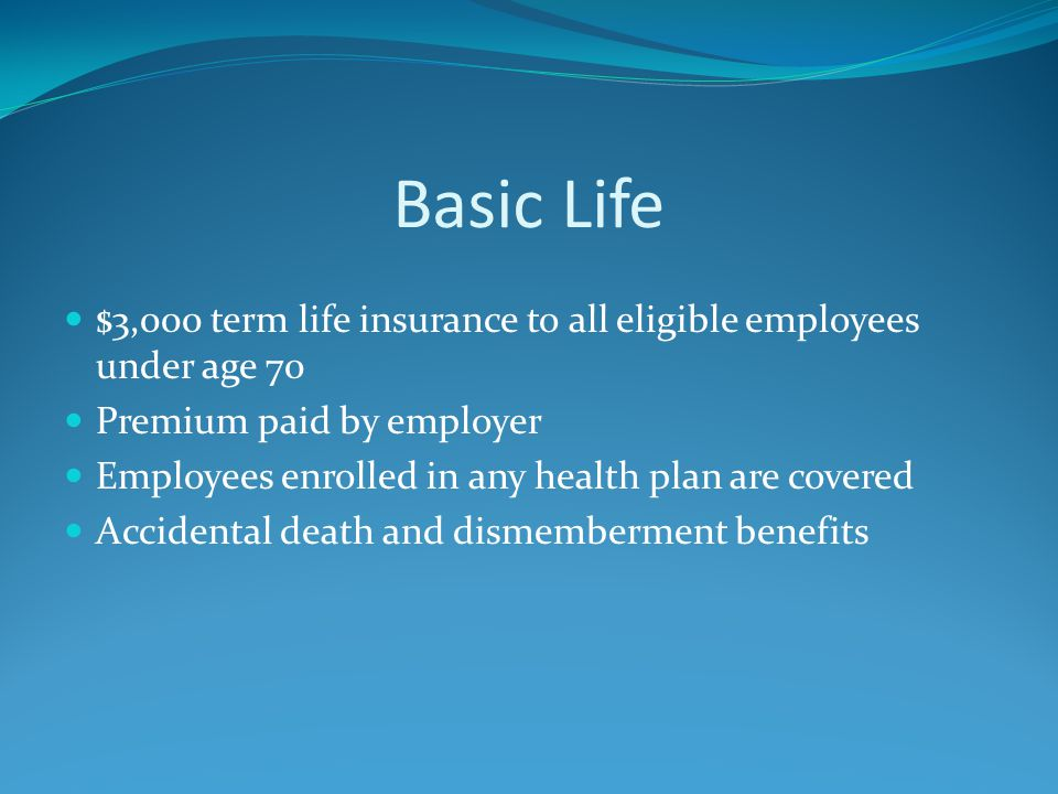Basic Life $3,000 term life insurance to all eligible employees under age 70 Premium paid by employer Employees enrolled in any health plan are covered Accidental death and dismemberment benefits