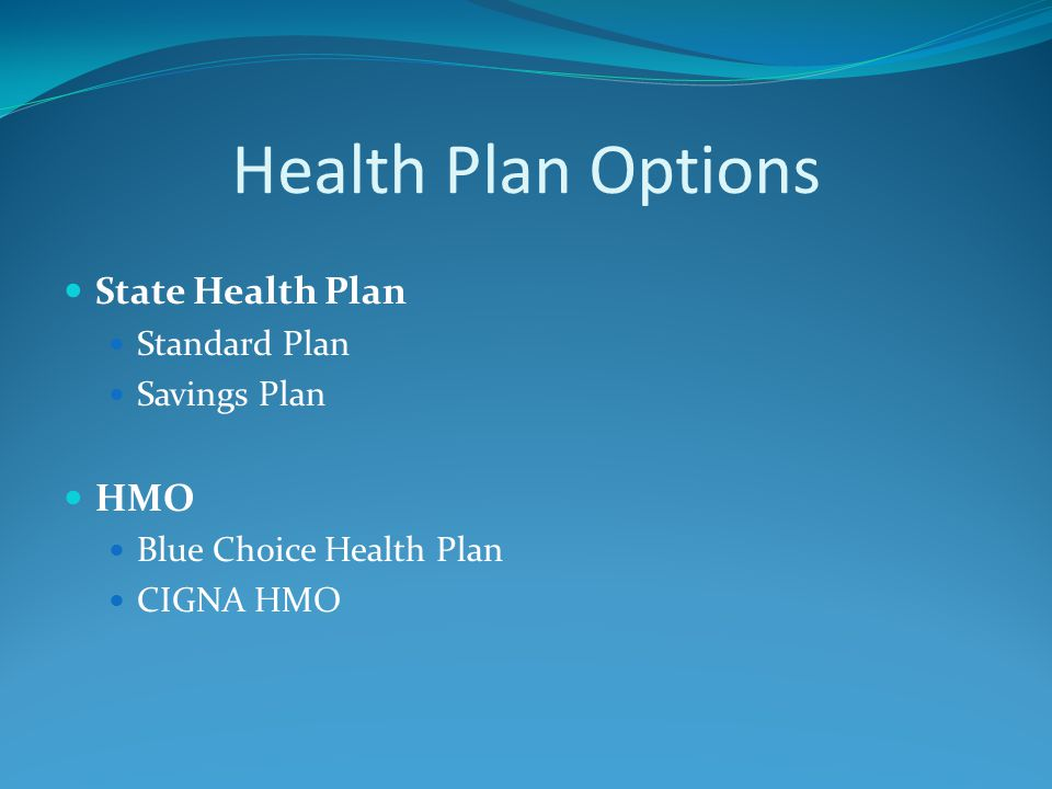Health Plan Options State Health Plan Standard Plan Savings Plan HMO Blue Choice Health Plan CIGNA HMO