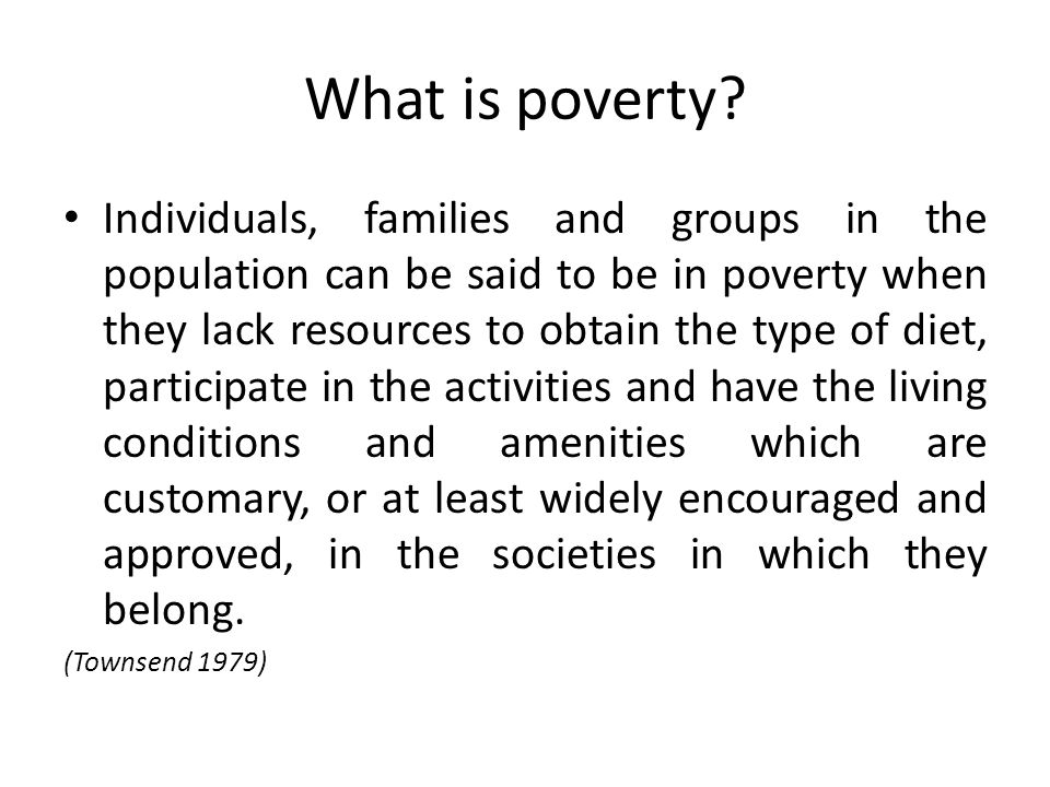 What is poverty.