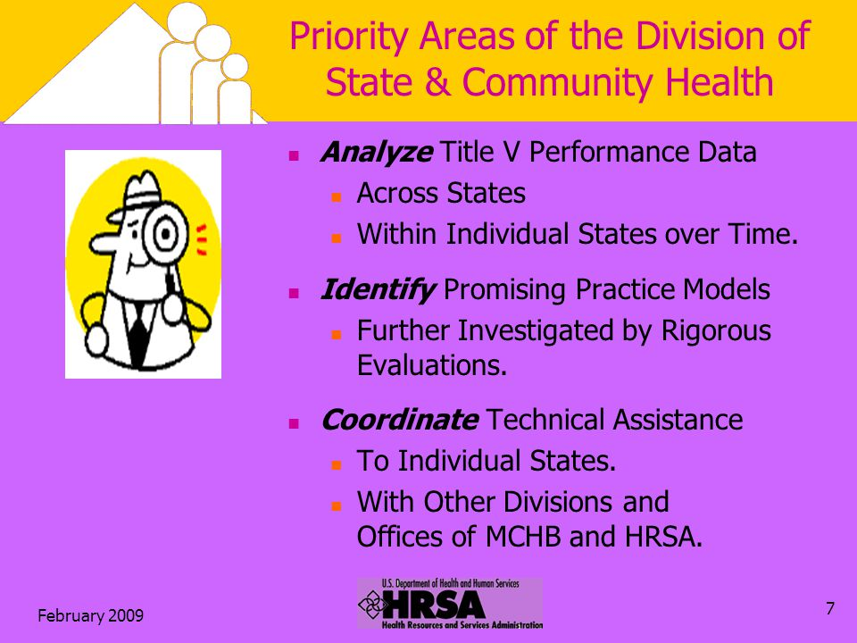 February Priority Areas of the Division of State & Community Health Analyze Title V Performance Data Across States Within Individual States over Time.