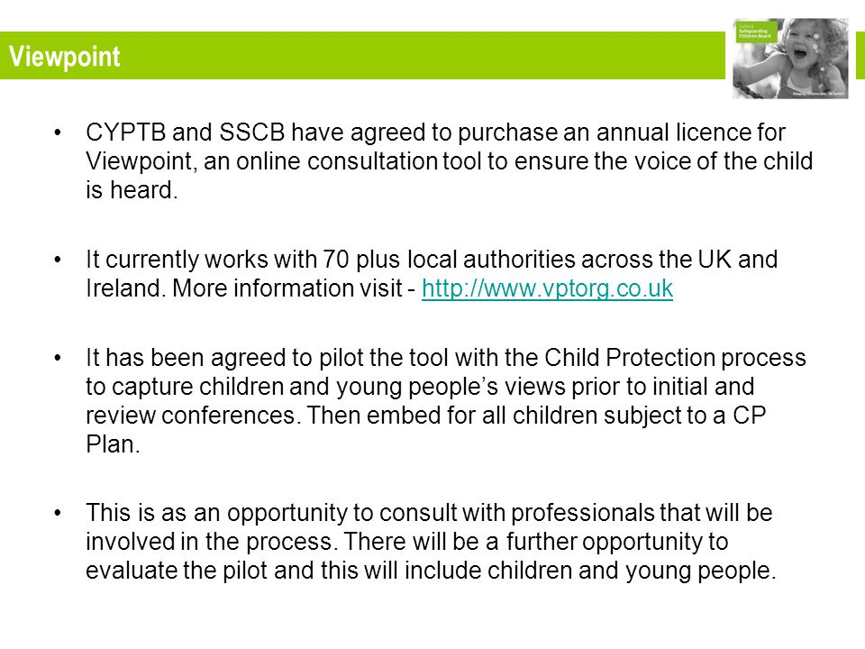 CYPTB and SSCB have agreed to purchase an annual licence for Viewpoint, an online consultation tool to ensure the voice of the child is heard.