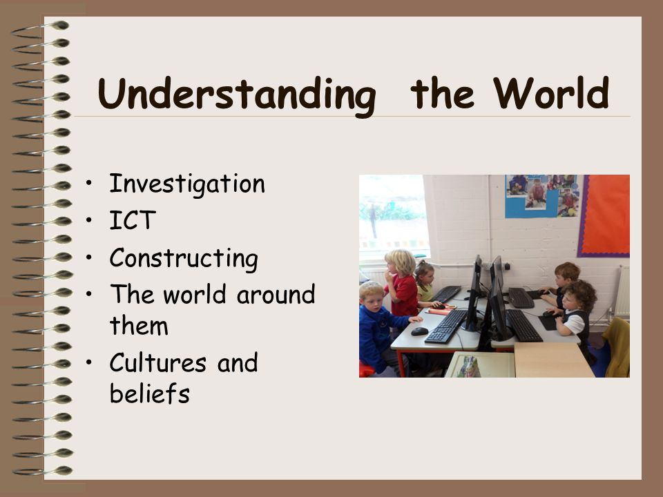 Understanding the World Investigation ICT Constructing The world around them Cultures and beliefs