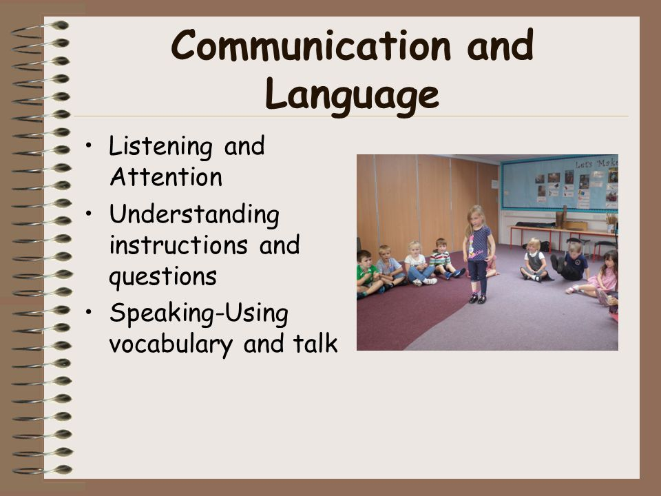 Communication and Language Listening and Attention Understanding instructions and questions Speaking-Using vocabulary and talk