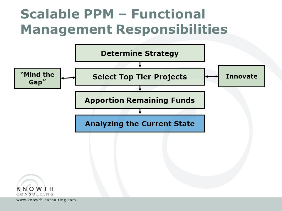 Scalable PPM – Functional Management Responsibilities Determine Strategy Select Top Tier Projects Innovate Mind the Gap Apportion Remaining Funds Analyzing the Current State