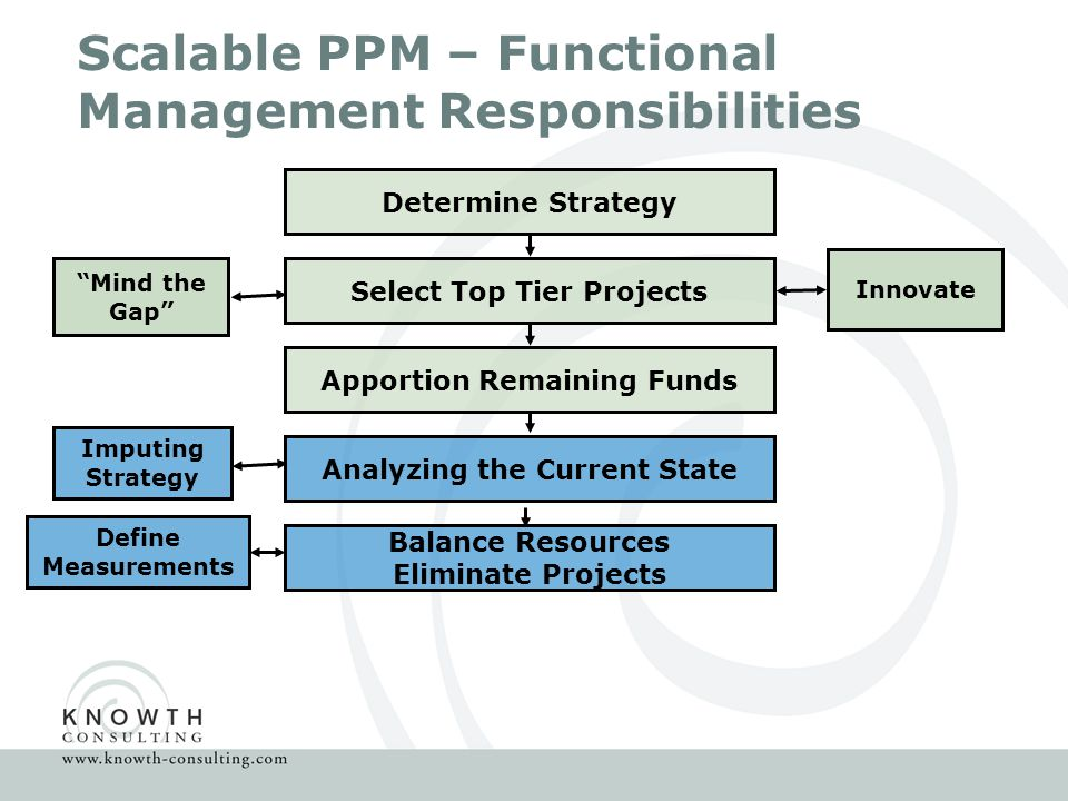 Scalable PPM – Functional Management Responsibilities Determine Strategy Select Top Tier Projects Innovate Mind the Gap Apportion Remaining Funds Analyzing the Current State Imputing Strategy Balance Resources Eliminate Projects Define Measurements