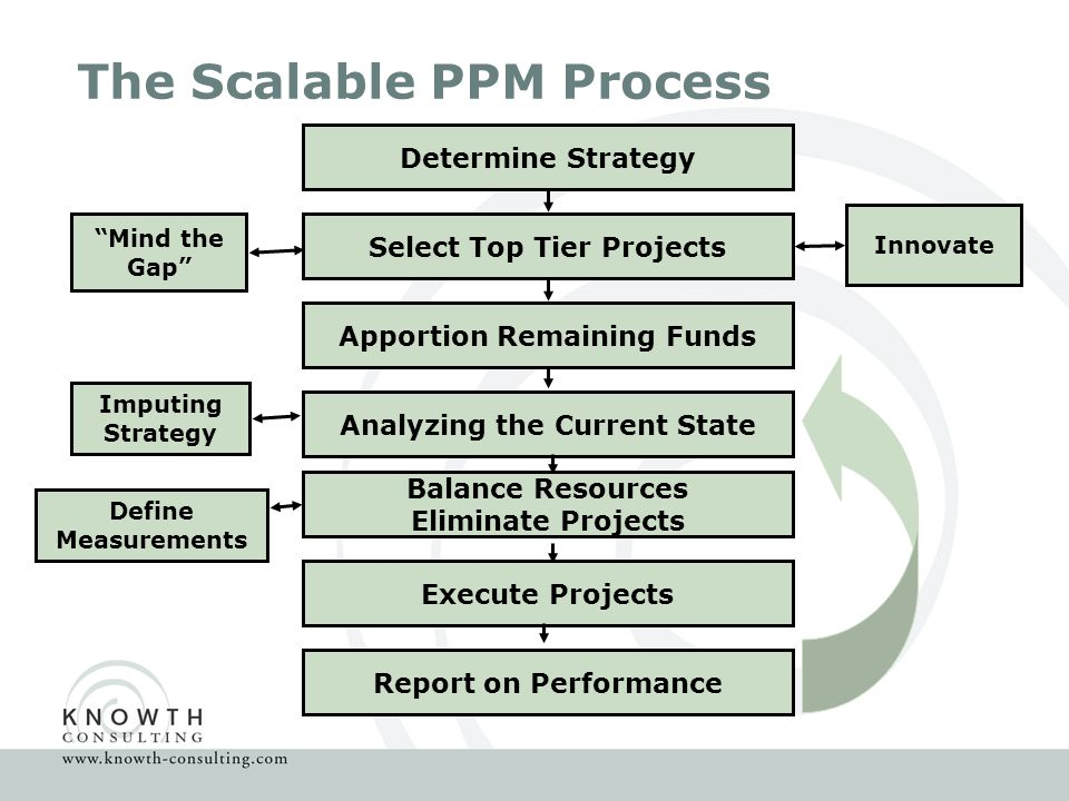 The Scalable PPM Process Define Measurements Determine Strategy Select Top Tier Projects Innovate Mind the Gap Apportion Remaining Funds Analyzing the Current State Imputing Strategy Balance Resources Eliminate Projects Execute Projects Report on Performance
