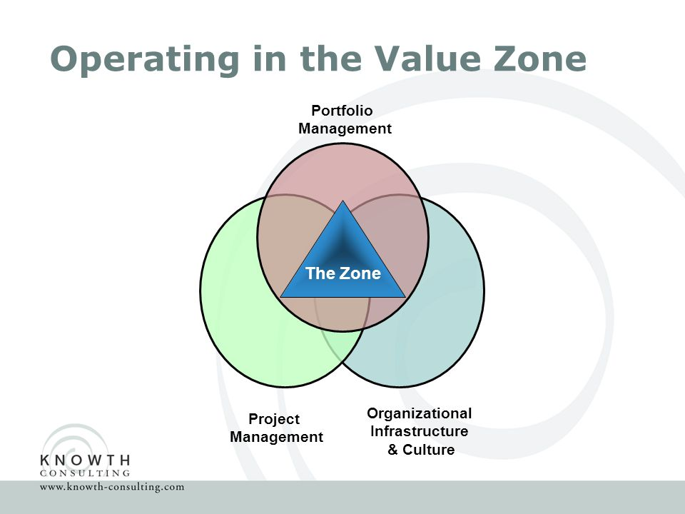 Operating in the Value Zone Portfolio Management Project Management Organizational Infrastructure & Culture The Zone