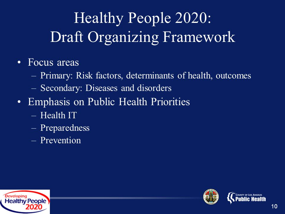 10 Healthy People 2020: Draft Organizing Framework Focus areas –Primary: Risk factors, determinants of health, outcomes –Secondary: Diseases and disorders Emphasis on Public Health Priorities –Health IT –Preparedness –Prevention