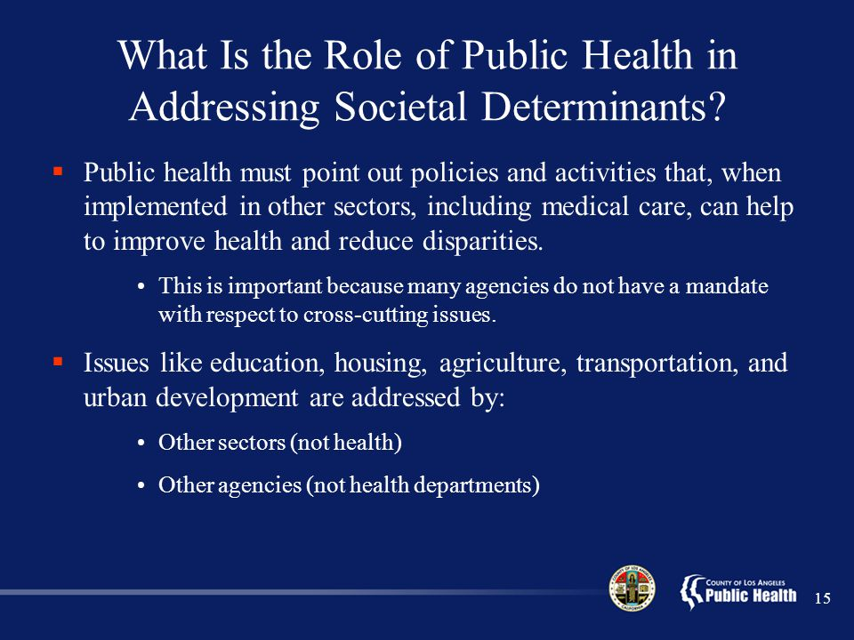 What Is the Role of Public Health in Addressing Societal Determinants.