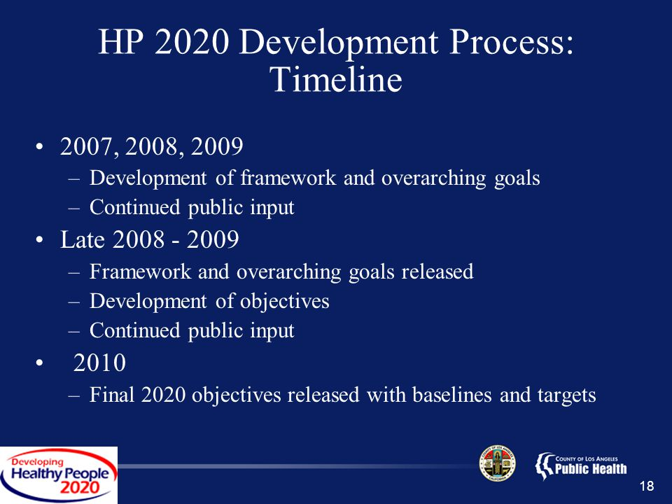 18 HP 2020 Development Process: Timeline 2007, 2008, 2009 –Development of framework and overarching goals –Continued public input Late 2008 - 2009 –Framework and overarching goals released –Development of objectives –Continued public input 2010 –Final 2020 objectives released with baselines and targets