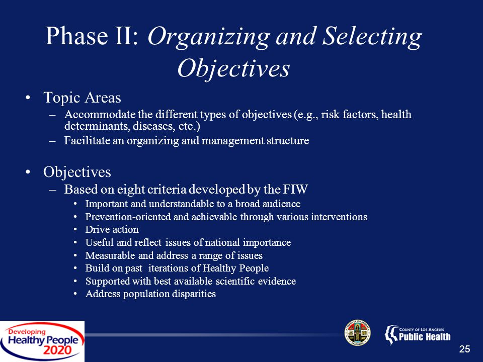 Phase II: Organizing and Selecting Objectives Topic Areas –Accommodate the different types of objectives (e.g., risk factors, health determinants, diseases, etc.) –Facilitate an organizing and management structure Objectives –Based on eight criteria developed by the FIW Important and understandable to a broad audience Prevention-oriented and achievable through various interventions Drive action Useful and reflect issues of national importance Measurable and address a range of issues Build on past iterations of Healthy People Supported with best available scientific evidence Address population disparities 25
