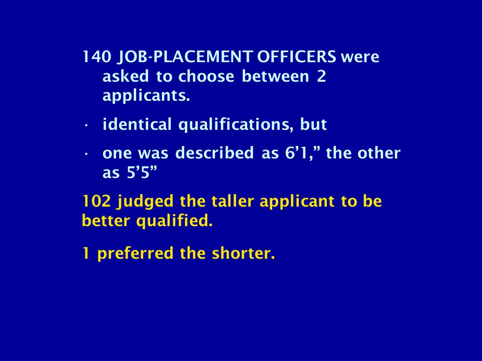 140 JOB-PLACEMENT OFFICERS were asked to choose between 2 applicants.