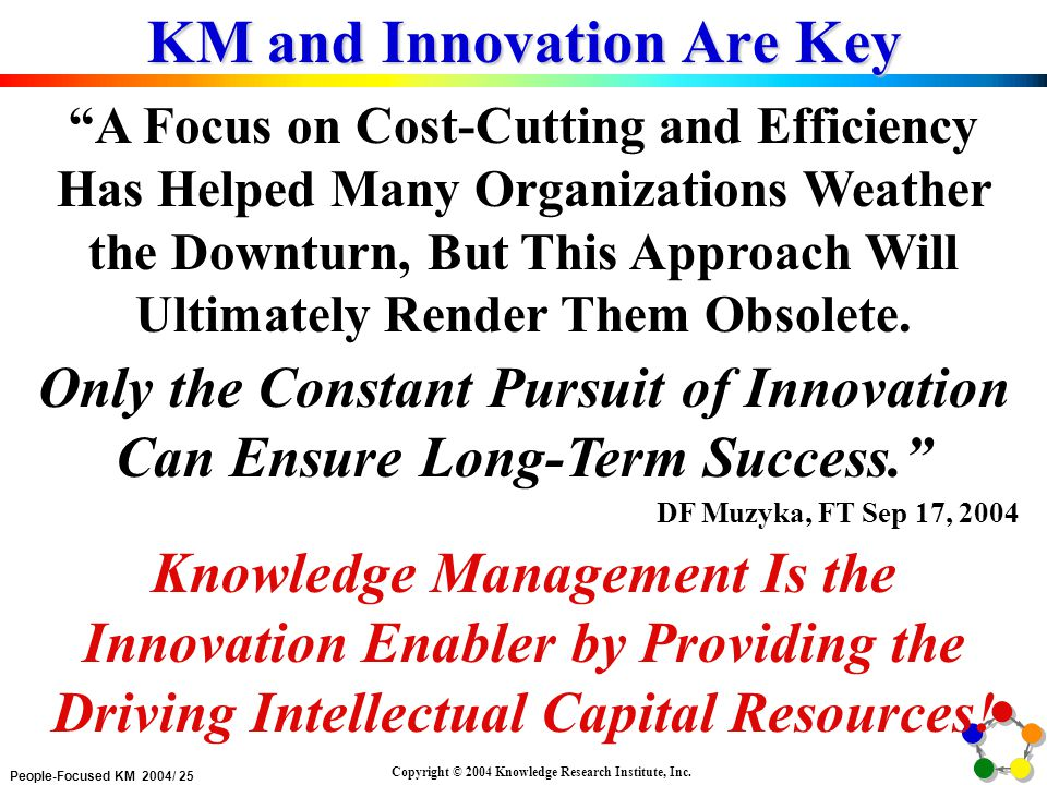 People-Focused KM 2004/ 25 Copyright © 2004 Knowledge Research Institute, Inc.