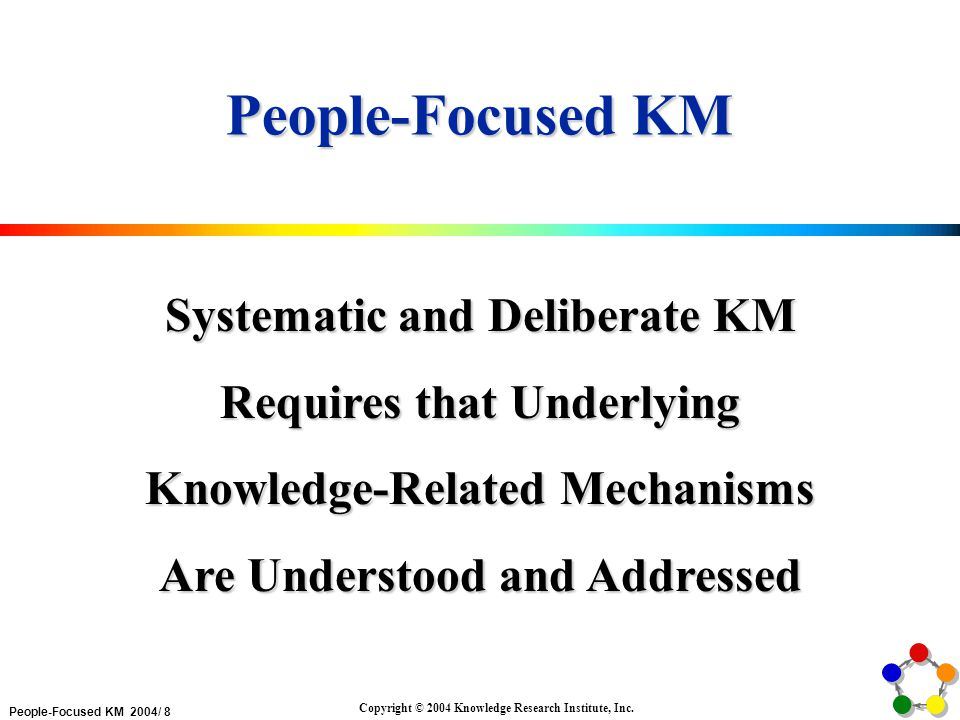 People-Focused KM 2004/ 8 Copyright © 2004 Knowledge Research Institute, Inc.