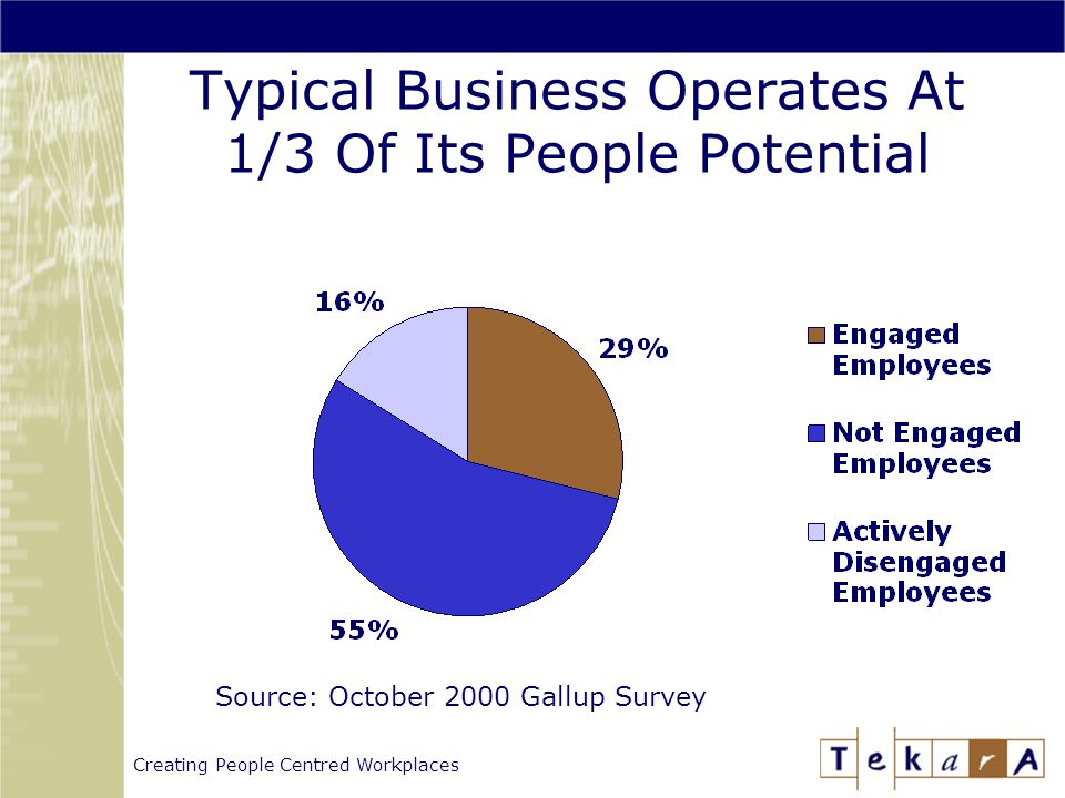 Creating People Centred Workplaces Typical Business Operates At 1/3 Of Its People Potential Source: October 2000 Gallup Survey