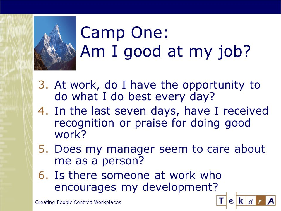Creating People Centred Workplaces Camp One: Am I good at my job.