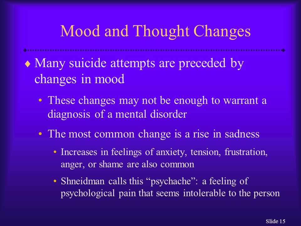 Slide 15 Mood and Thought Changes  Many suicide attempts are preceded by changes in mood These changes may not be enough to warrant a diagnosis of a mental disorder The most common change is a rise in sadness Increases in feelings of anxiety, tension, frustration, anger, or shame are also common Shneidman calls this psychache : a feeling of psychological pain that seems intolerable to the person